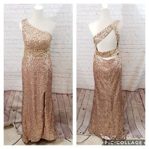 Dresses & Skirts - Rose Gold Sequined One Shoulder Gown
